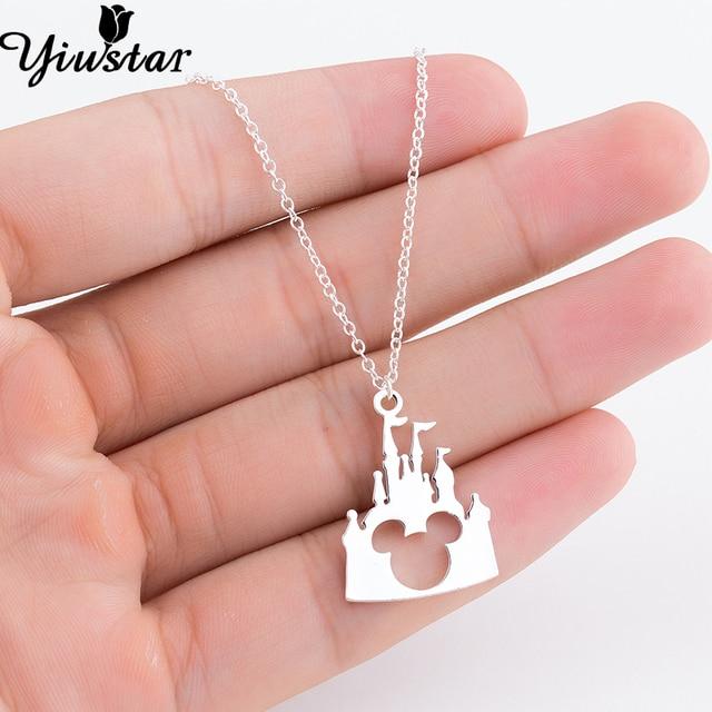 Yiustar Delicate Castle Mickey Head Pendant Necklace Charm Gold Beauty Castle Mickey Jewelry Necklace for Women Girls