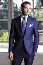 2017 Newest Coat Pant Designs Blue Italian Fits Slim match Tuxedos 2 items Customized Marriage ceremony Go well with for males Vestidos de Fiesta