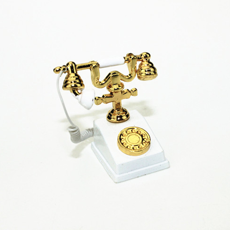 1:12 Miniature Phone Model Alloy Vintage Retro Rotary Telephone Dollhouse Decoration Accessories BM88