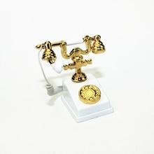1:12 миниатюрный модель телефона сплав Винтаж ретро роторный телефон кукольный домик Украшение Аксессуары BM88