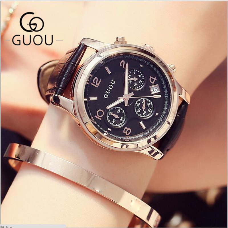 GUOU Watches Women Watches Waterproof Genuine Leather Ladies Watch Luxury Auto Date Watch Lady Hour relogio feminino reloj mujer cristel дуршлаг на ножках классик 24 см pas24q