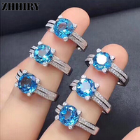ZHHIRY Genuine Natural Blue Topaz 925 Sterling Silver Gemstone Ring For Women Rings Real Precious Fine Jewelry