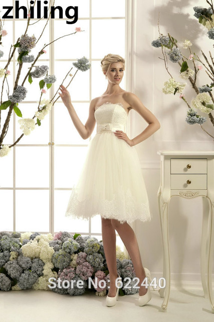 Simple Knee Length Short Wedding Dresses Strapless Wedding Gown With ...