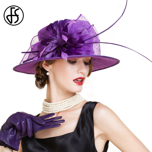 ff67b7039fe FS Elegant Ladies Red Wedding Hats And Fascinators Sinamay Women Church  Linen Fedora Feather Flower Wide Brim Kentucky Derby Hat