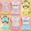 Hot 2016 New Baby Girl Clothes Summer Kids Active Sets t-shirt+shorts Suit Regular Character Newborn Sport Suits Cotton Clothing