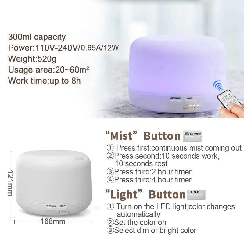Humidificateur ultrasonique d'arome d'air de 300 ML avec 7 lumières de couleur diffuseur électrique d'arome d'huile essentielle d'aromathérapie avec à télécommande