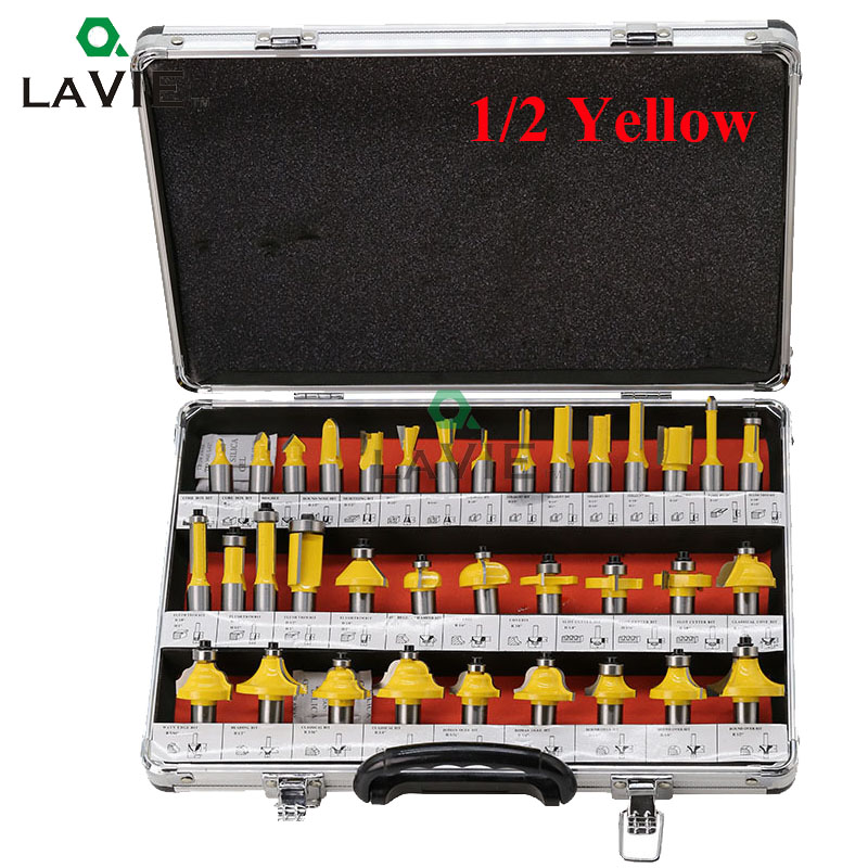 LAVIE 35PCS 12mm 1/2 Inch Shank Woodworking Router Bits Milling Cutter Bits For Wood Straight Engraving Machine Tool DIY MC03002