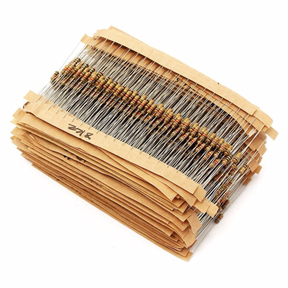 600Pcs 1ohm -3M Ohm 1/2W Resistance Carbon Film Metal Resistor Resistance Assortment Kit ...