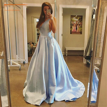 Plus Size Long Evening Dress Formal Dresses Prom V Neck Taffeta Backless Sweep Train Custom Made Laconic Party Gowns