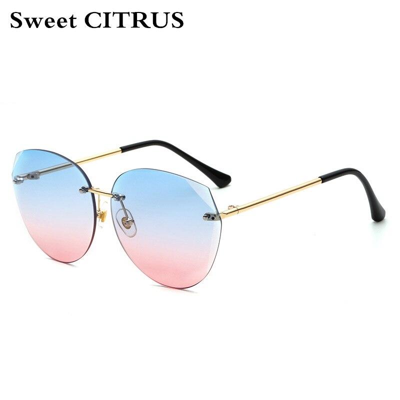 5c1618dbee Dulce CITRUS ojo de gato de la marca gafas de sol mujeres personalidad  Rimless Vintage señoras del diseño gafas de sol UV400 lunette de soleil  femme en ...