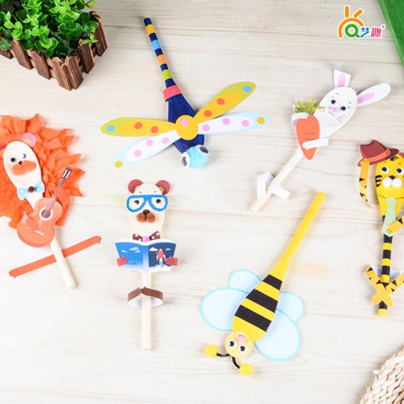 4 pcs Diy träskedas docka / Barn barns dagbarns konsthantverk handgjorda pedagogiska leksaker / färgpappersproduktion