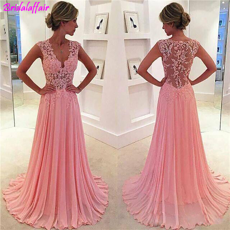 Pink Sexy V Neck Backless Lace   Prom     Dress   Fashion A-Line Tulle Appliques Court Train Vestido De Noiva Elegant Evening Gowns