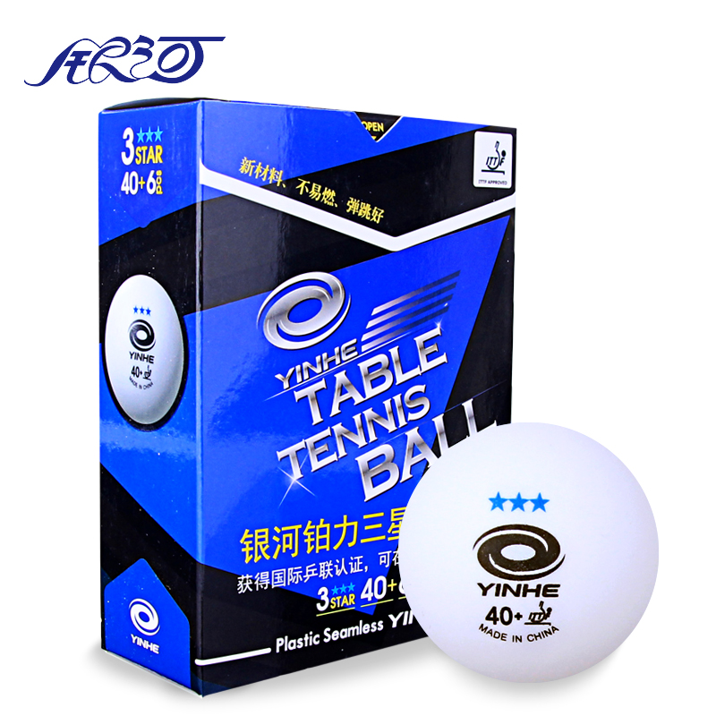 12balls YINHE New Material Plastic 40+mm ITTF Approved 3-Star Table Tennis Balls Ping Pong Balls Seamless