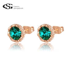 GS Exquisite Stud Earrings AAA Zircon stones Rose gold Color brincos earrings for women Birthday Gift Fashion Jewelry Earrings