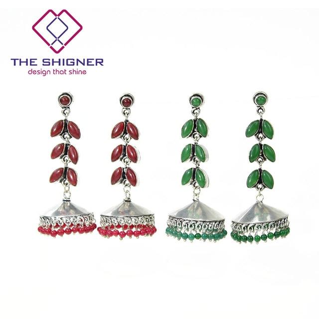 e25aaaca4 THE SHIGNER Indian Traditional Oxidized Silver Tribal Gypsy Jewelry-Afghani  Bohemian Chandelier Designer Leaf Jhumki Earrings