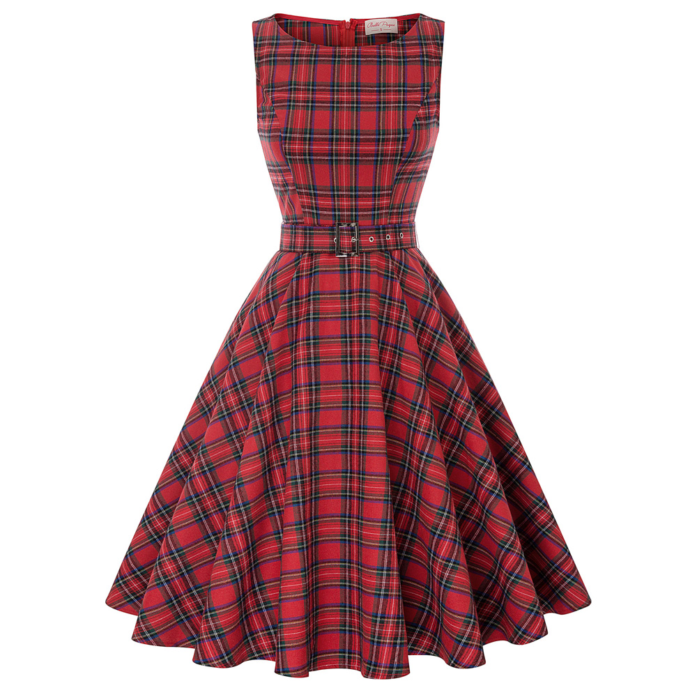Belle Poque Sleeveless Plaid Pattern Retro Vintage Party Picnic Belted Dress New