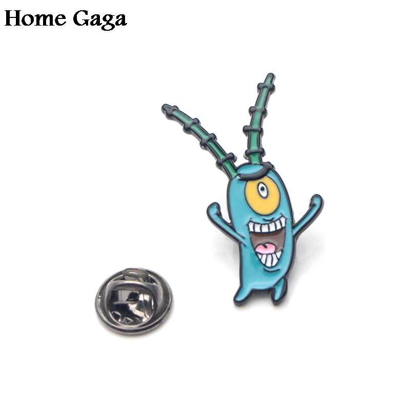 Homegaga Plankton Sheldon Zinc tie cartoon Funny Pins backpack clothes brooches for men women hat decoration badges medals D1696 in Badges from Home Garden
