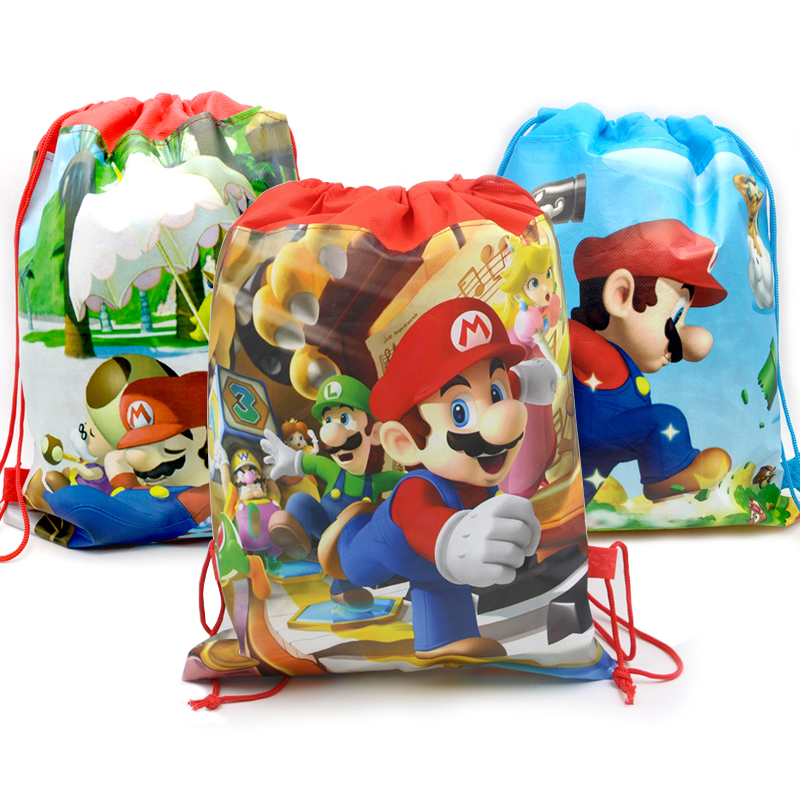1pcs lot Baby Shower Mochila Non woven Fabric Boys Favors Super Mario Backpack Decorate Birthday Party