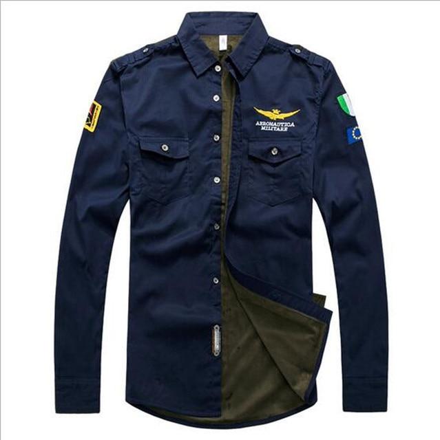 ec71f45a M-3XL Brand Men Aeronautica Militare Air Force One Shirt Men Long Sleeve  Casual Embroidery Logo Patch Plane Pilot Shirt