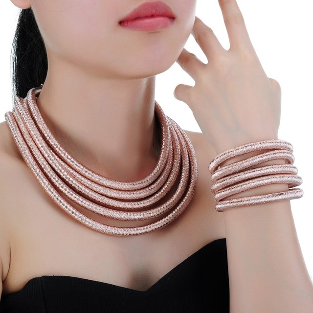 JEROLLIN New Arrival Fashion Lady Bracelet Jewelry 7 Colors Thread Bracelet Jewelry Sets Chokers Set Necklaces