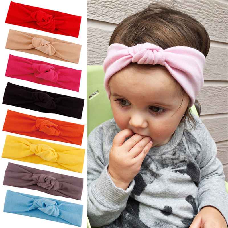 Bebes Hair Accessories Knitted Cotton Bowknot Baby Hairbands Christmas Newborn Girls Headwears D1057