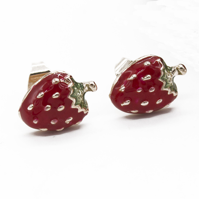 large img sour earrings glitter stud strawberry cherry