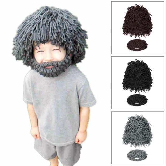 6fdf0486aad Wig Beard Hats Mad Scientist Caveman Handmade Knit Warm Winter Caps Men  Women Christmas Gifts Funny