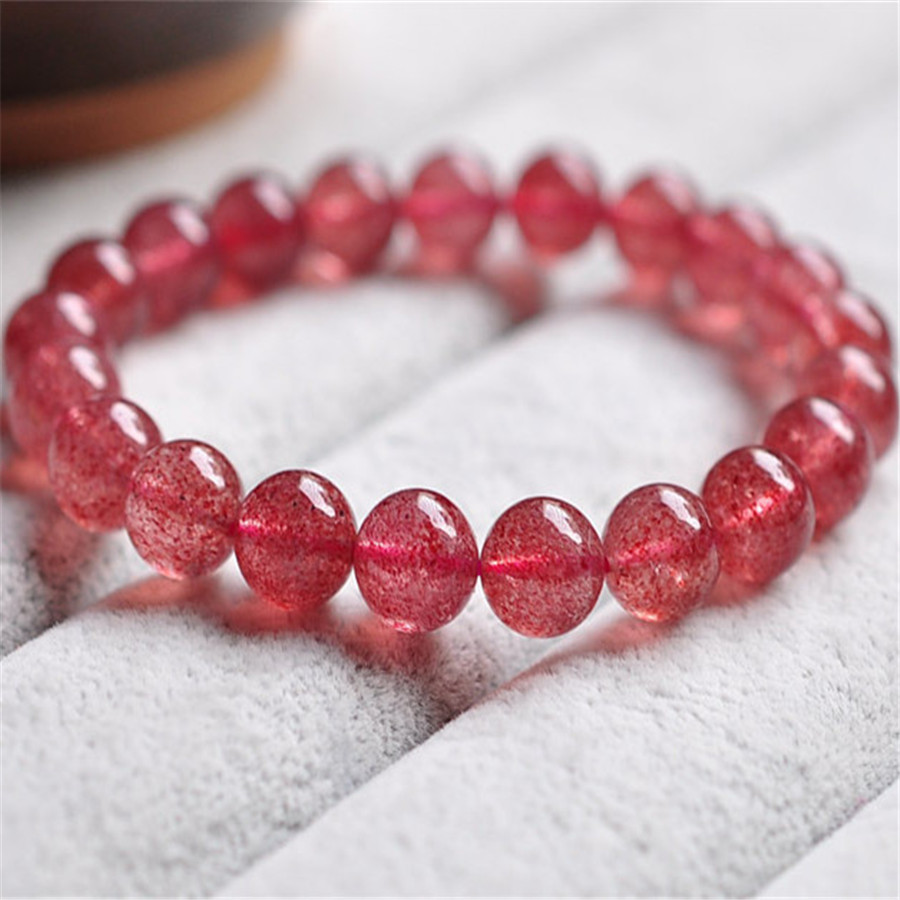 9mm Genuine Natural Red Strawberry Quartz Bracelets For Women Ladies Femme Charm Transparent Round Clear Crystal Beads Bracelet 9mm genuine sugilite bracelets for female women natural stone round beads crystal jewelry bracelet