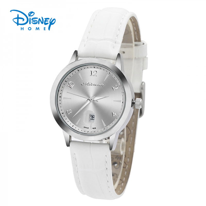 100% Genuine Disney Women Watches Fashion Casual Brand Quartz Wristwatch Relogio Masculino White Leather Strap Watch Waterproof