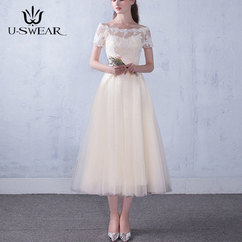 U-SWEAR New Sexy Lace Boat Neck Short Sleeve Bridesmaid Dresses Sweet Ankle-Length Wedding Party Formal Gowns Vestidos De Festa