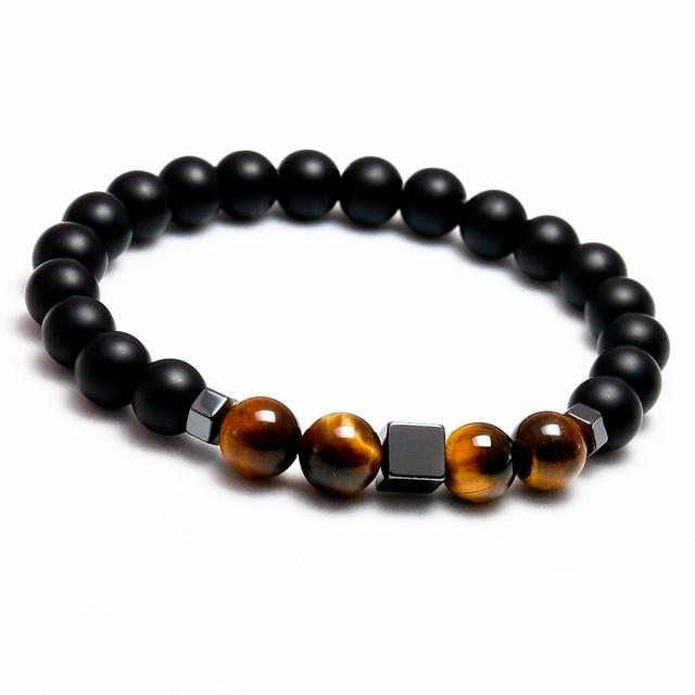 Bracelet Oeil De Tigre Homme onyx mat noir et Hématite