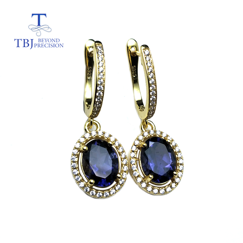 TBJ,Natural India iolite 3ct gemstone clasp earring solid 925 sterling silver and yellow gold color shiny gift for women girlsTBJ,Natural India iolite 3ct gemstone clasp earring solid 925 sterling silver and yellow gold color shiny gift for women girls