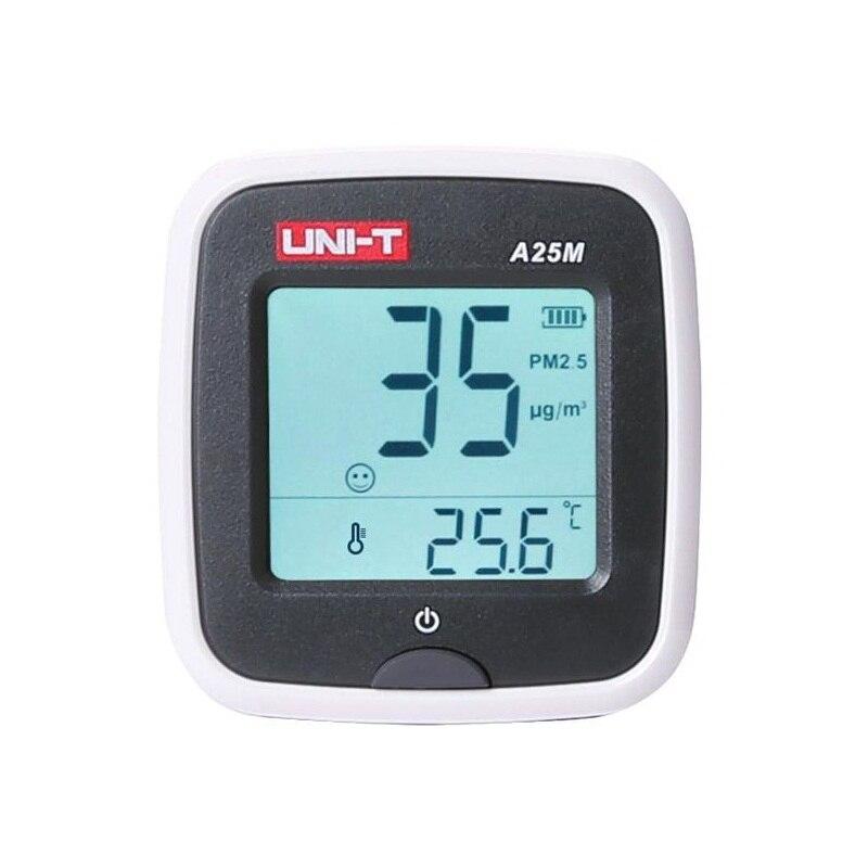 UNI-T A25M PM2.5 Tesers Quility Ar Monitor de Medição 0 ~ 500ug/Cubic metros Auto Range Sobrecarga Indicam Entrada Polímero bateria