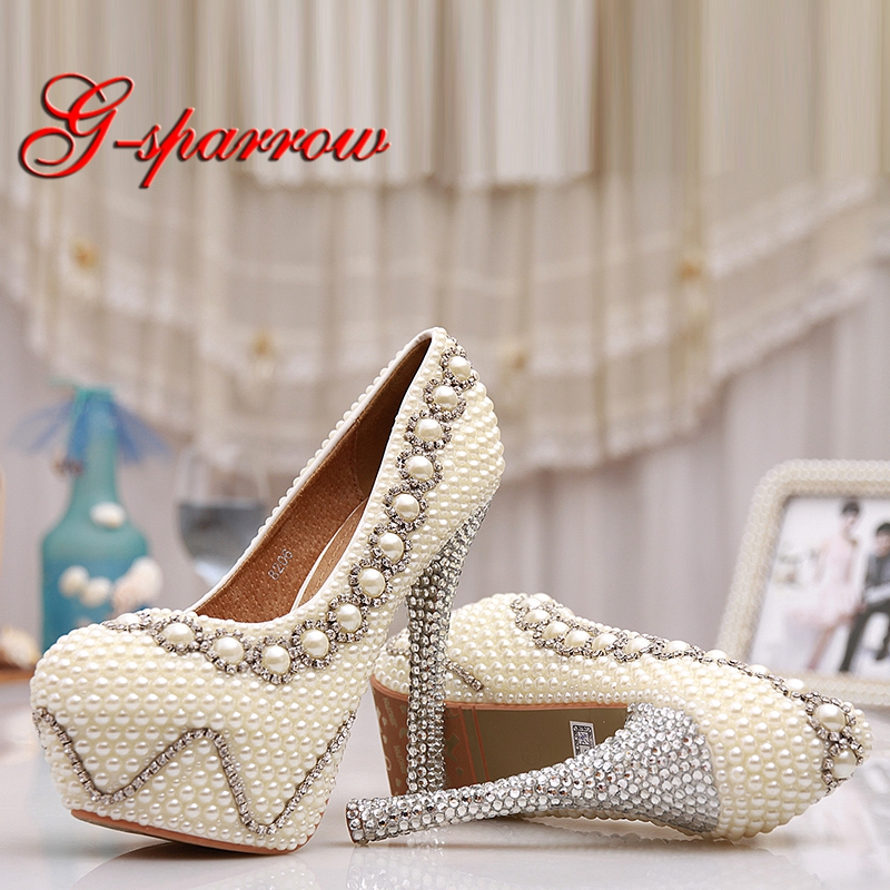 c89136d08b3 Ivory Pearl Wedding Shoes Glitter Rhinestone Heel Wave Platform Women Pumps  Bride Party Prom Shoes 5