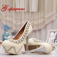 Zapatos de boda de perlas marfil con diamantes de imitación brillante plataforma de ola zapatos de fiesta de novia zapatos de baile de graduación de 5
