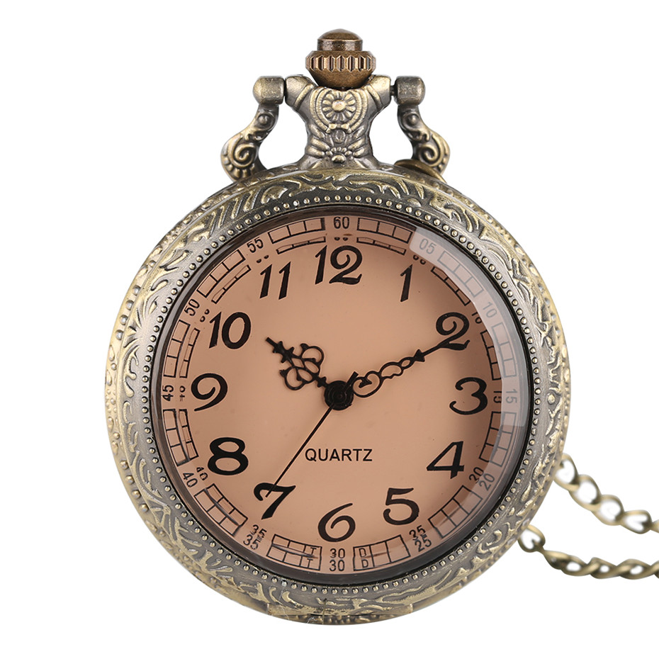 Antique Dark Brown Transparent Glass Quartz Pocket Watch Necklace Bronze Fashion Women Fob Watches Ladies Girl Best Gift P03