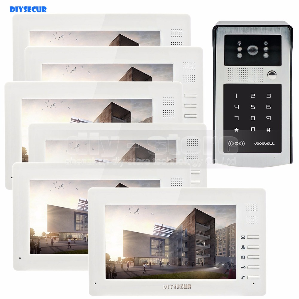 DIYSECUR 7inch 1024 x 600 HD TFT LCD Screen Video Door Phone Video Intercom Doorbell Buildin RFID Reader + Password HD Camera 7 inch video doorbell tft lcd hd screen wired video doorphone for villa one monitor with one metal outdoor unit rfid card panel