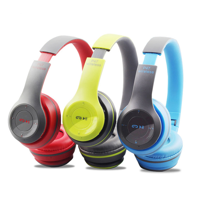 912ad876c4f76f P47 Wireless Headset Bluetooth 4.1 Headphones with Mic Stereo Earphones  with FM Radio TF support Aux