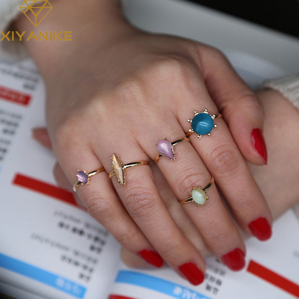XIYANIKE Hot Sale 5 UNIDS Turkish Nature Stone Rings Sets Charm Midi Knuckle Ring Rings Adjustable opening For Women Gift R22