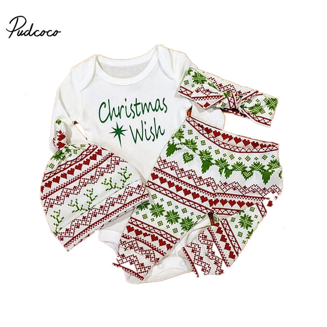 5626c614e76f Christmas Wish Infant Baby Boy Girl Outfits Clothes Romper Pants Hat  Headband 4PCS Set Babies Clothes 0-24M