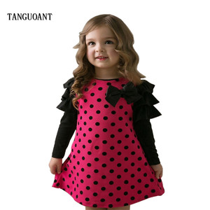 TANGUOANT Hot Sale autumn and spring children clothing girls polka dot dress long-sleeve kids girls princess dress