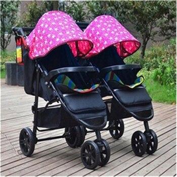 цена Twin baby strollers can sit reclining light baby twin dragon and phoenix cart second fetal artifact detachable folding онлайн в 2017 году