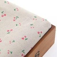 155 센치메터 * 50 100% 천연 코튼 리넨 패브릭 천 핑크 벚꽃 디자인 인쇄 꽃 바느질 DIY 패치 워크 장식 퀼트 MJ39