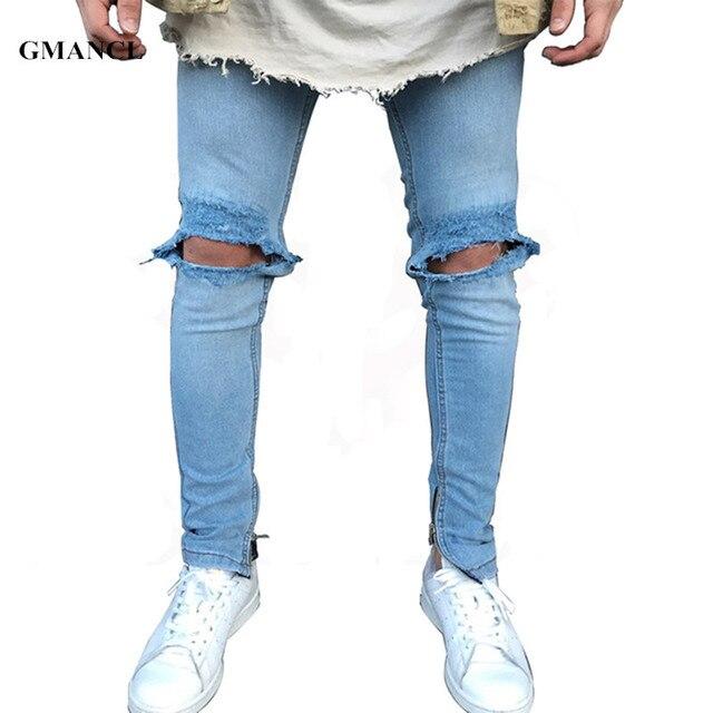 5d1e83e986 US $21.39 30% di SCONTO|GMANCL 2017 New blue Jeans Strappati Uomini Con  Fori Denim Super Skinny Famosi Designer Brand Slim Fit Pantaloni Graffiato  ...