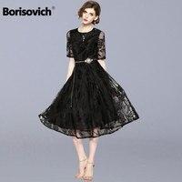 Borisovich New 2018 Summer Fashion England Style Elegant Slim Ladies Evening Party Dresses High Quality Women Lace Dress M514