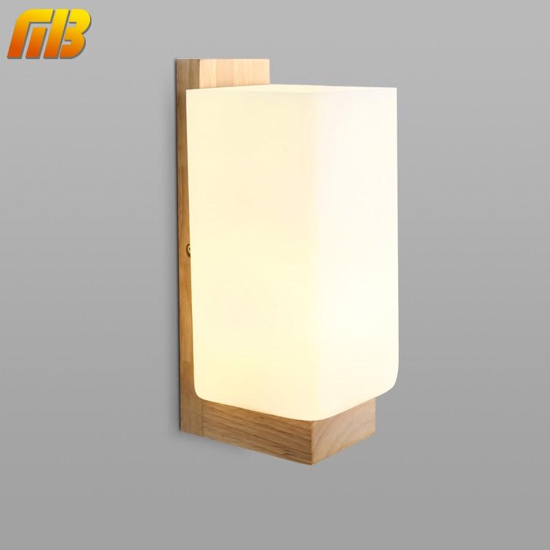 ФОТО Morden Wall Lamp Night Light Wood+Glass E27 Socket For Bedroom Foyer Living Room Cafe Bar Restaurant Home Dining Room