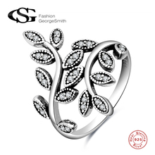 ФОТО GS  925 Sterling Silver Rings  Women  Dazzling Wedding Leaves Silver Ring for Women   Fine Jewelry anillos