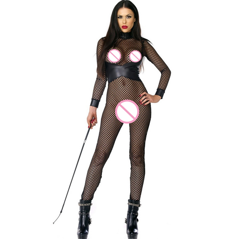 New Stylish Jumpsuit For Women Black Faux Leather Fishnet Transparent Fishing Net Long Sleeve Hot Erotic Lingerie Sexy Catsuit