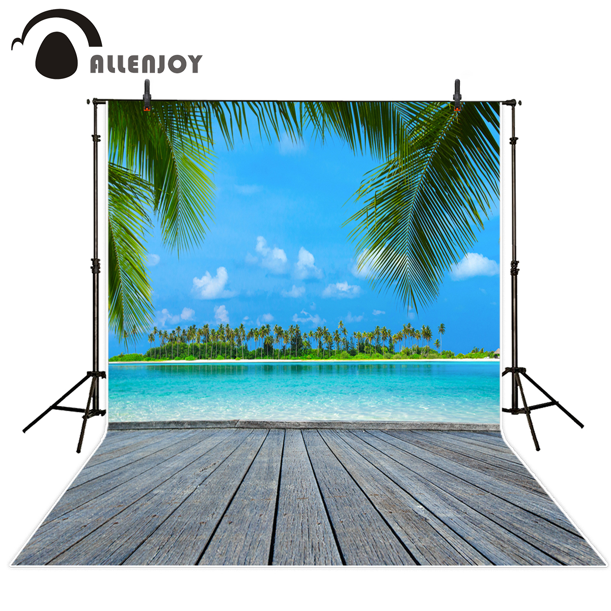 Allenjoy summer scenery photography backdrops blue sky wooden floor ocean kids photographic backgrounds for photo studio allenjoy photography backdrops natural stone gray pattern kids photo backgrounds photographic studio computer printing lovely