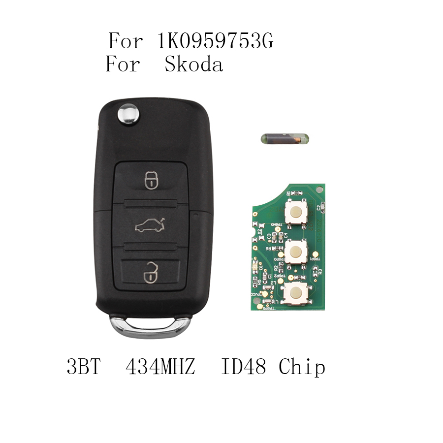 LARATH 3 Buttons 434MHz 48 Chip 1K0 959 753 G Remote Key for SKODA Octavia 2004-2010 Car Key Auto Remote 1K0959753G NO logo fast shipping 1 piece 1k0 959 753 g 3 button flip remote key with 433mhz 48 chip for vw key
